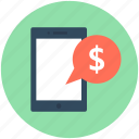 chat, dollar, m commerce, mobile, transaction icon