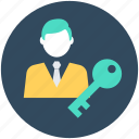 key, man, security, user access, user key icon