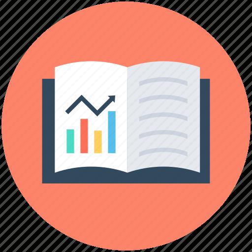 book, business report, economics book, graph book, journal icon