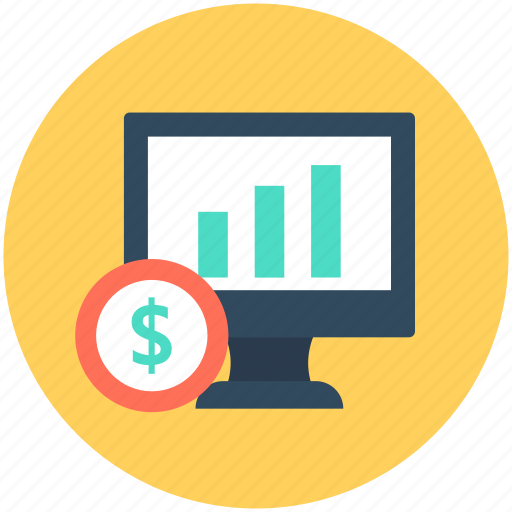 bar chart, bar graph, dollar, finance report, monitor icon