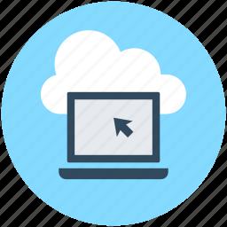 cloud computing, cloud laptop, cloud network, laptop, network icon