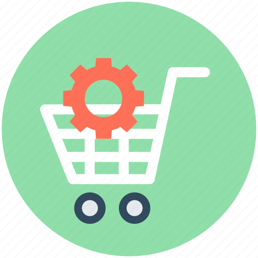 cog, shop preferences, shop sections, shopping cart, shopping trolley icon