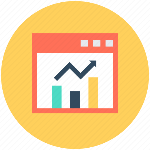 analytics, business analytics, chart on screen, graph, graph screen icon