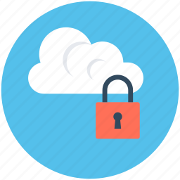 cloud computing, cloud locked, cloud security, lock, network security icon
