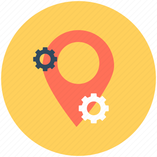 cogs, gps, location pin, location setting, map setting icon
