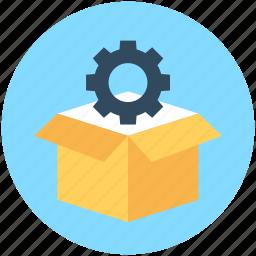 box, cog, cogwheel box, gear, pack icon