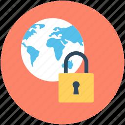 global protection, lock, padlock, security, worldwide icon