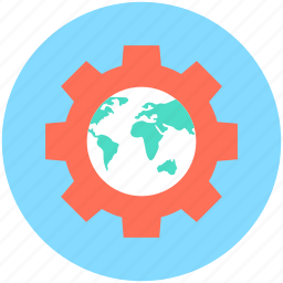 globe, globe gear, optimization, seo, worldwide icon