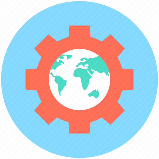 globe, globe gear, optimization, seo, worldwide icon
