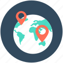 globe location, gps, location pin, navigation, world location icon