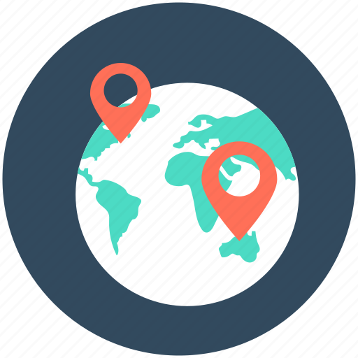 globe location, gps, location pin, navigation, world location icon