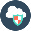 cloud computing, cloud protection, cloud security, cloud shield, network security icon