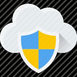 cloud, sheild, trust, verification, verified, verify icon