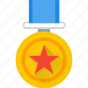 award, gold, medal, rank, star, topper icon