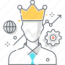boss, employee, king, leader, leadership, management, rank icon