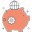 earnings, earth, funding, global, investment, pig, piggy bank icon