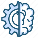 brain, cogwheel, process icon