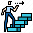 man, stair, step icon