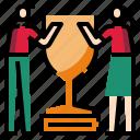 award, trophy, women icon