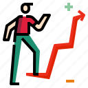 businessman, chart, graph icon