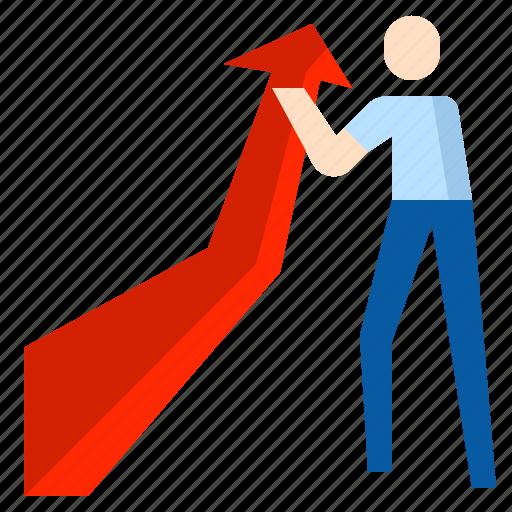 benefit, graph, profit icon
