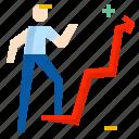 businessman, chart, graph icon