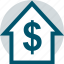 dollar, home, house, network icon