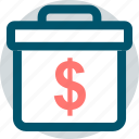 briefcase, dollar, professional, sign icon