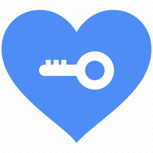 access, heart, key, love, privacy, safety, unlock icon