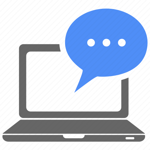 chat bubble, comment, communication, computer, laptop, message, talk icon