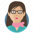 avatar, businesswoman, glasses icon