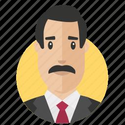 avatar, businessman, moustache icon