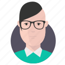 avatar, businessman, geek, hipster icon