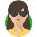 avatar, businesswoman, shades icon