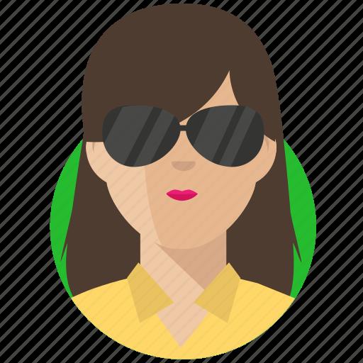 avatar, businesswoman, shades icon