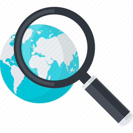 business, flat design, global, globe, market, research, search icon