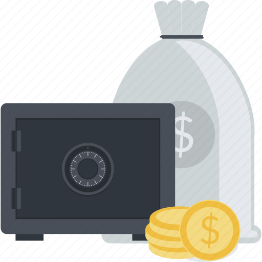 bank, banking, business, flat design, investment, money, safe icon