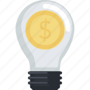 business, flat design, idea, money, smart, solutions icon