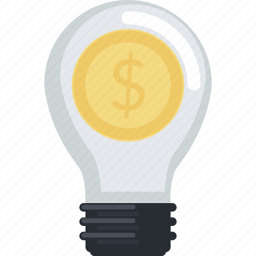business, flat design, idea, money, smart, solutions icon