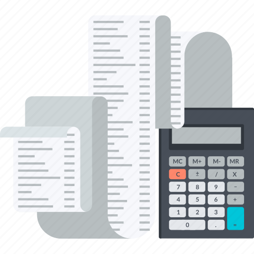 accounting, bookkeeping, calculation, finance, flat design, taxes icon