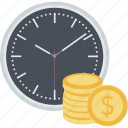 auction, crowdfunding, flat design, money, savings, term, time icon