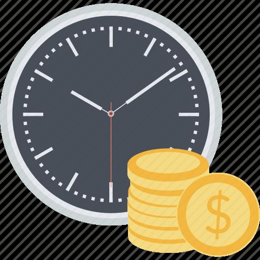 auction, crowdfunding, flat design, money, savings, term, time icon