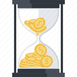 banking, business, finance, flat design, hourglass, money, time icon