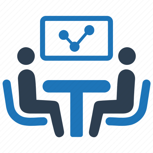 business, discussion, meeting, report icon