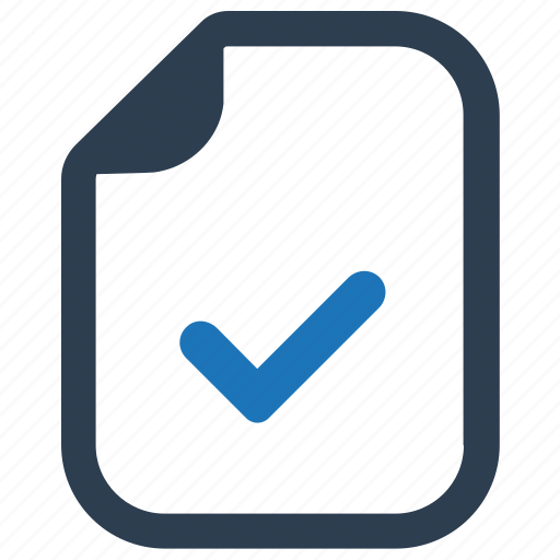 approved, completed, document, file icon