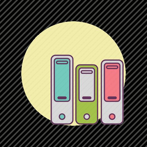 files, folders, information, storage, work icon