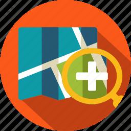 city, map, plus, search icon
