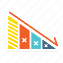 analytics, business, down, loss, management, plan, strategy icon