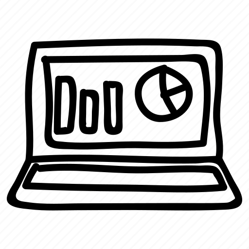 chart, diagram, graph, laptop, statistic icon