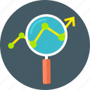 analysis, business, chart, magnifying glass, report icon